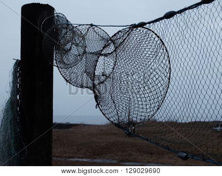 Nät på tork efter en lyckad fisketur