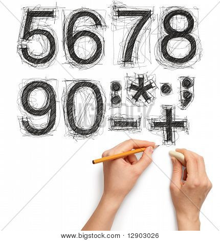 Sketch Letters And Numbers With Hand And Pencil
