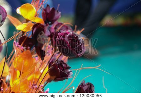 Rose Flowers With Yellow Branch And Glitter
