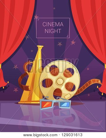 Cinema night cartoon background with videotape and red curtain vector illustration