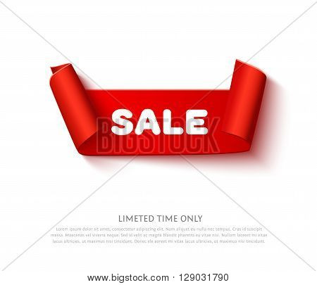 Red curved paper ribbon banner with paper rolls and inscription SALE isolated on white background. Realistic vector paper template for promo and sale advertising.