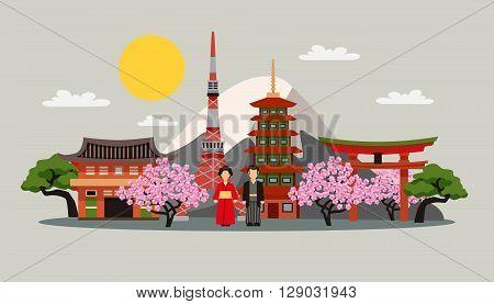 Japan symbols composition flat decorative background poster with kimono dress fuji mountain and sakura blossom abstract vector illustration