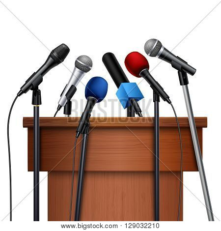Different multicolored microphones near tribune prepared for conference meeting set on white background realistic vector illustration