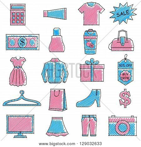 vector illustration of set of scribbled shopping icon against isolated background