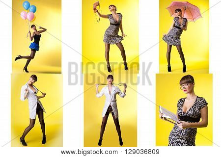 Set of woman in various costumes for role-playing games