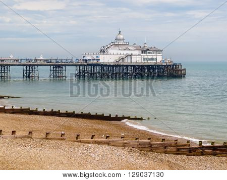 Eastbourne Pier seaside pleasure pier in Eastbourne East Sussex England poster