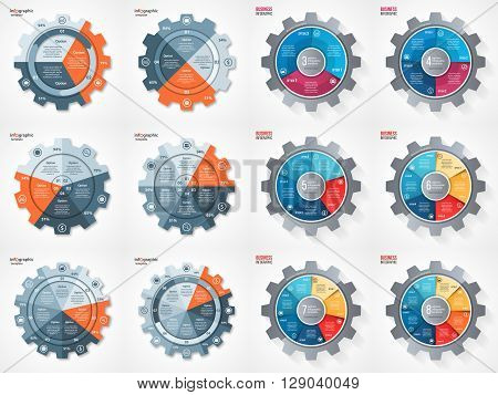 Vector business and industry gear style circle infographic set for graphs charts diagrams and other infographics. Pie chart cycle chart round chart templates with 3 4 5 6 7 8 options parts steps processes.