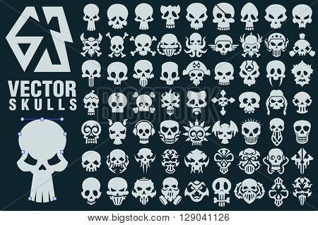 A collection of 63 vector shapes in different styles. Great for halloween rockers bikersr danger and warning signs games tattoo design.