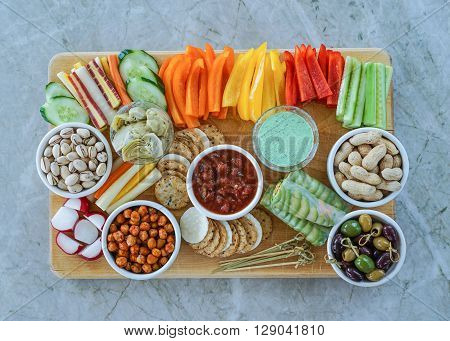Vegetable Crudites and Dips/ vegetable platter, healthy eating. Gluten free, paleo diet. Selective focus.