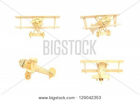 Closeup wooden toy plane isolated on white background