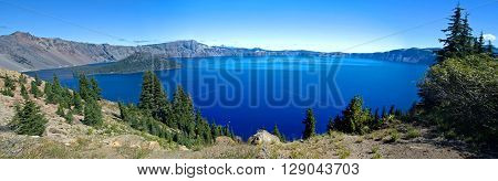 Wizard Island and Crater Lake National Park panorama, Oregon