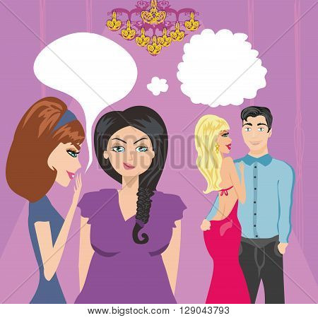 girls gossiping about a pair of lovers , vector illustration