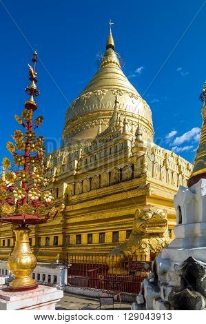 Myanmar, Bagan. the golden domes of the Kuthodaw temple.