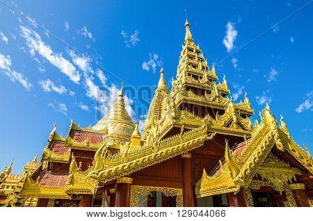Myanmar, Bagan, upward view of the Kuthodaw temple.