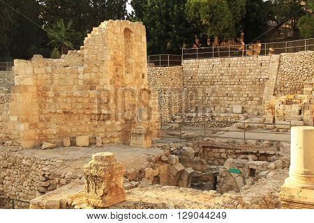 JERUSALEM, ISRAEL - OCTOBER 22, 2013:  Excavated archeological ruins of the Pool of Bethesda and Byzantine Church.  Located in the Muslim Quarter in Old Jerusalem, Israel on the path of the Beth Zeta Valley.