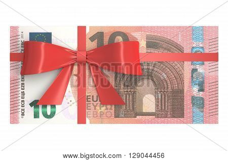 Pack of 10 Euro banknotes with red bow gift concept. 3D rendering