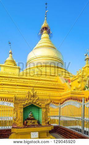 Myanmar Mandalay the Shwenandaw Kyaung golden pagoda sanctuary.