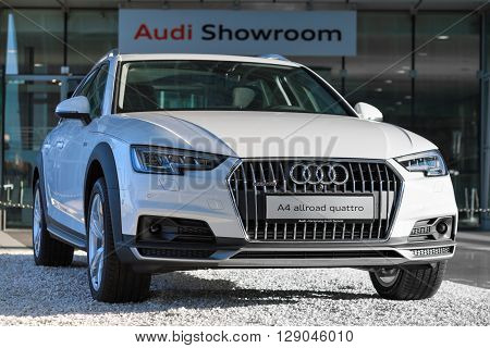 MUNICH, GERMANY - MAY 6, 2016: New contemporary model of 4WD crossover Audi A4 allroad quattro car with powerful diesel engine.