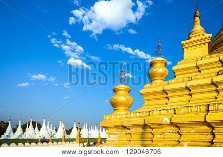 Myanmar Mandalay the Kuthodaw Paya temple known olso as 'the world's biggest book'.