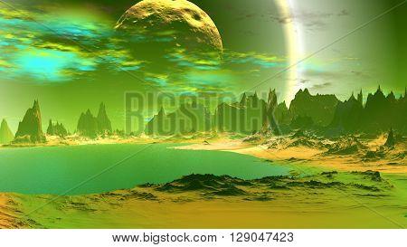 Rocks and lake. Landscape of stranger planet. 3D illustration