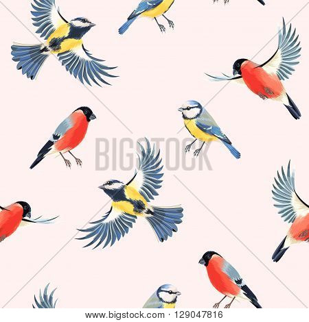Flying bullfinch and tomtit vector seamless background