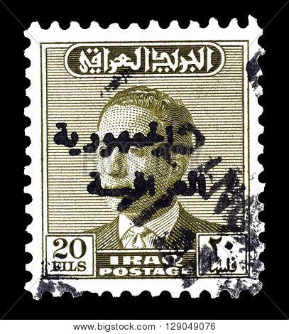 IRAQ - CIRCA 1958 : Cancelled and overprinted postage stamp printed by Iraq, that shows king Faisal II.