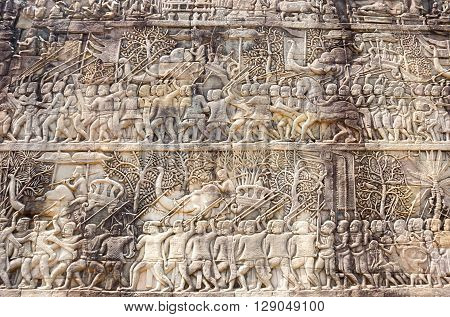 ANGKOR WAT, CAMBODIA - JANUARY 27, 2015: A Bas-Relief Statue of Khmer Culture in Angkor Wat Cambodia