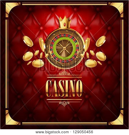 Vector casino gambling game  luxury background with leather red  texture backdrop and roulette wheel with golden coins  flying to viewer. Casino gambling template poster. Casino vector illustration.
