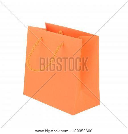 Orange Paper Shopping Bag Isolated