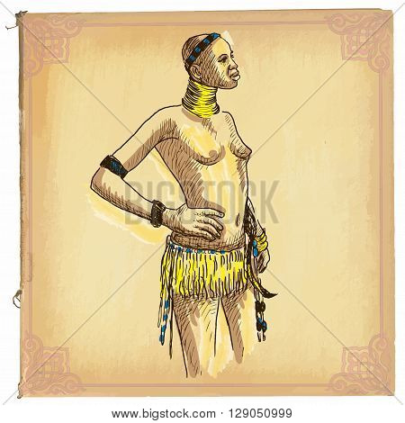 African Woman - An Hand Drawn Vector Sketch, Freehand, Colored Line Art
