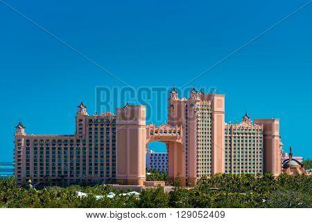 Atlantis - Bahamas with palm tree in natural light