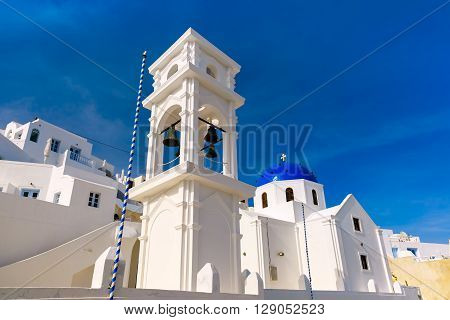 Imerovigli Anastasi Church of the Greek Aegean island, Santorini, in the sunny day, Greece