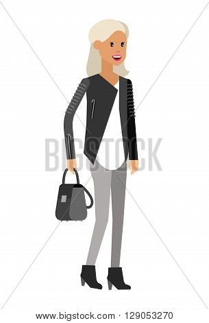 Vector detailed character, character business women or sudent, woman in casual clothing style. Business women, character creative woman isolated on white background