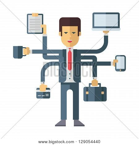 Busy businessman multitasking. Flat vector illustration isolated on white background