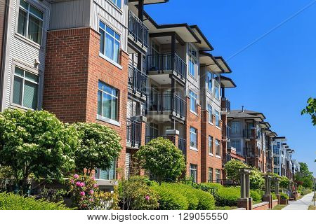 Modern apartment buildings in Richmond British Columbia Canada.