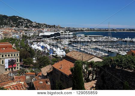 Cannes, France - May 22: This panoramic views over Cannes from the hill on which the castle Castres May 22, 2015 in Cannes, France.