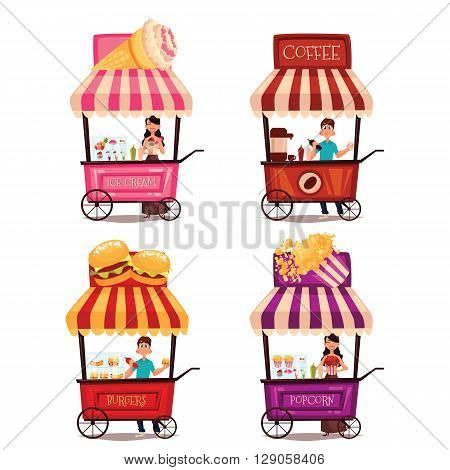 Fast food cart, cartoon set isolated on a white background, street selling ice cream, garburgera, burgers, hot dogs, coffee in the street, a different street fast food sellers