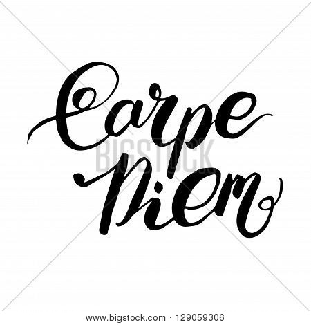 Carpe Diem - Latin phrase means Catch, captures the moment. Motivational quote in black ink isolated on a white background. Modern calligraphy, vector illustration. For prints on fashionable t-shirts, bags, cards, posters