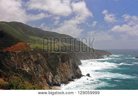 Mountains and ocean along California's Hwy 1 in Big Sur