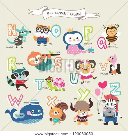 Cute cartoon animals alphabet from N to Z