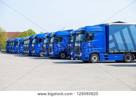 ALTENTREPTOW / GERMANY - MAY 5 2016: merceds benz trucks from haulage firm gertner stands on logistic depot in altentreptow / germany on may 5 2016.