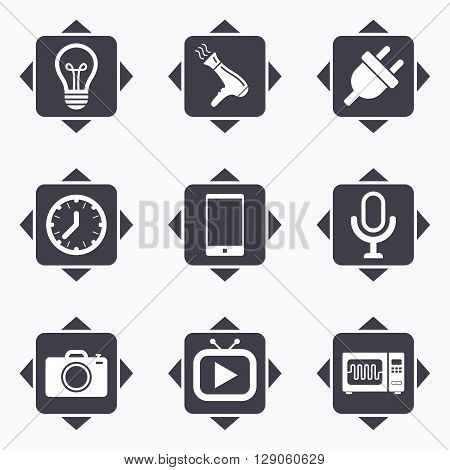 Icons with direction arrows. Home appliances, device icons. Electronics signs. Lamp, electrical plug and photo camera symbols. Square buttons.