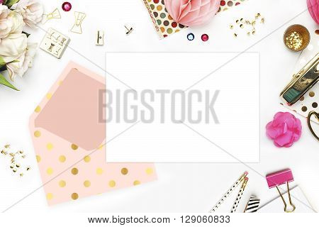Header website or Hero website Table view office items white background mock up woman desk. Polka gold pattern and blush