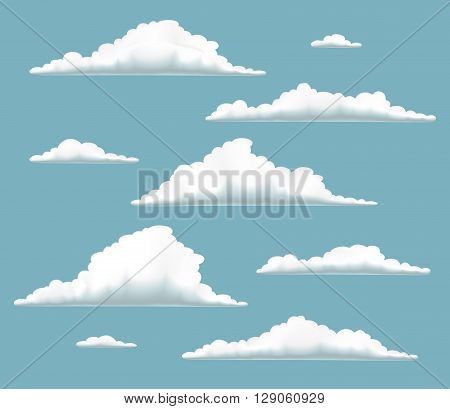 set of clouds in blue sky collection of volumetric clouds on blue background set of cartoon clouds