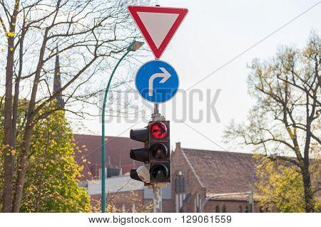 a german traffic light on a crossing