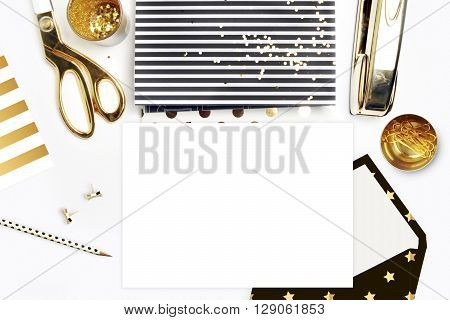 White background. Header website or Hero website, Mockup product view table gold accessories. stationery supplies. glamour style. Gold stapler. Flat lay