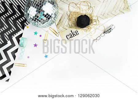 Styled stock photography | Arrow and polka | white desk woman | mock up product | flat lay | Office stationery