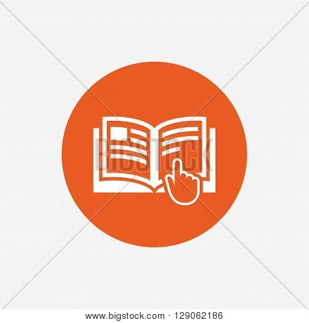 Instruction sign icon. Manual book symbol. Read before use. Orange circle button with icon. Vector