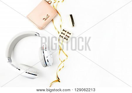 Header website or Hero website, view table gold accessories office items. Mock-up background. Flat lay