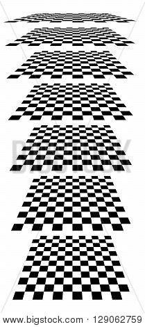 Checkerboards, Chessboards, Checkered Planes In Different Perspective. Tilted, Vanishing Empty Marbl